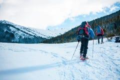 Deux grimpeurs sont dans les montagnes Photos stock