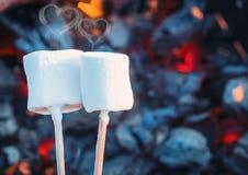 Deux guimauves douces blanches rôtissant au-dessus des flammes du feu Fumée sous la forme de coeurs Guimauve sur des brochettes r Photos libres de droits