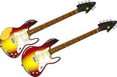 Deux guitares électriques différentes avec le cou d'érable et de bois de rose Images stock