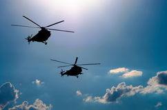 Deux hélicoptères Photographie stock