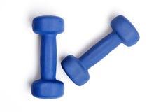 Deux haltères bleues Image libre de droits