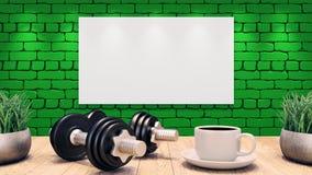 Deux haltères et une tasse de café sur une table en bois Calibre de séance d'entraînement Mur de briques vert illustration 3D illustration libre de droits