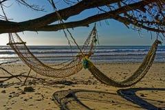 Deux hamacs sur la plage à la lumière du soleil de soirée photographie stock libre de droits
