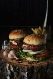 Deux hamburgers de boeuf sur un fond foncé Photographie stock libre de droits