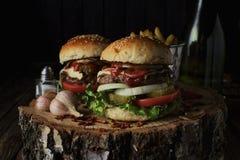 Deux hamburgers de boeuf sur un fond foncé Images stock