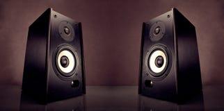 Deux haut-parleurs d'acoustique d'énergie Photos libres de droits