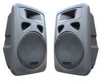 Deux haut-parleurs sonores de vieux concert sur le blanc Image stock