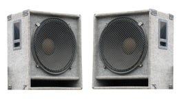 Deux haut-parleurs sonores de vieux concert sur le blanc Photos libres de droits
