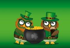 Deux hiboux heureux avec un pot de pièces d'or dans un costume national illustration libre de droits