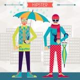 Deux hippies sur le fond urbain dans le rétro style Photographie stock