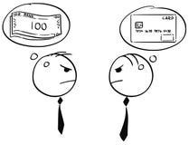 Deux homme d'affaires Arguing au sujet d'argent d'argent liquide et de carte Illustration Stock