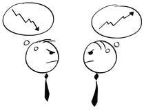 Deux homme d'affaires Arguing au sujet de croissance et de récession Photographie stock libre de droits