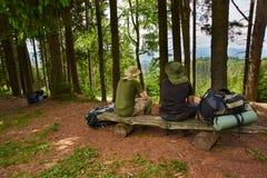 Deux hommes admirent la vue des montagnes Photo stock
