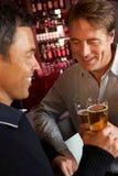 Deux hommes appréciant la boisson ensemble dans le bar Photo libre de droits