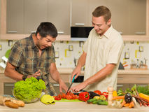 Deux hommes ayant l'amusement dans la cuisine Photo libre de droits