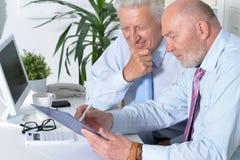 Deux hommes d'affaires avec un ordinateur portable Photographie stock