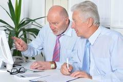 Deux hommes d'affaires avec un ordinateur portable Images libres de droits