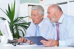 Deux hommes d'affaires avec un ordinateur portable Image libre de droits