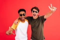 Deux hommes gais de sourire dans la pose de lunettes de soleil Photo stock