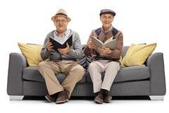 Deux hommes mûrs avec des livres se reposant sur un divan et regardant Photo stock