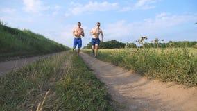 Deux hommes musculaires courant et parlant dehors Jeunes types sportifs pulsant au-dessus du champ Formation masculine de sportsm clips vidéos