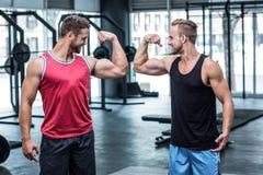 Deux hommes musculaires de sourire fléchissant des biceps photo stock