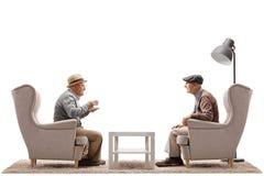Deux hommes pluss âgé assis dans des fauteuils ayant une conversation Photo libre de droits