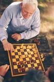Deux hommes supérieurs ayant l'amusement et jouant des échecs au parc Images libres de droits