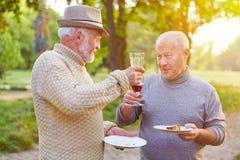 Deux hommes supérieurs encourageant avec le verre de vin Photographie stock libre de droits