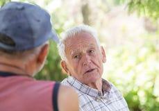 Deux hommes supérieurs parlant en parc Photos stock