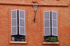 Deux hublots gentils sur le mur de briques avec le sha d'hublot images libres de droits