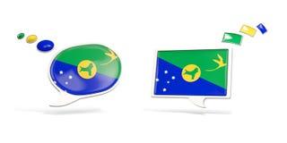 Deux icônes de causerie avec le drapeau de l'Île Christmas Photos libres de droits