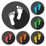 Deux icônes d'empreinte de pas réglées avec la longue ombre Image stock