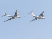 Deux Il-78 et Tu-95 chez Victory Parade Image libre de droits