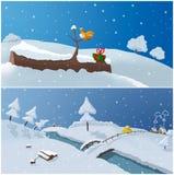 Deux illustrations de l'hiver Photos libres de droits