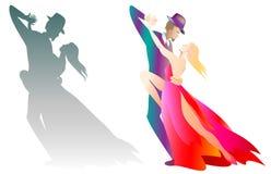 Deux illustrations de l'homme et de la femme dansant le tango Images stock