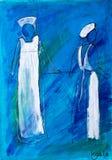 Deux infirmières dans la peinture blanche en acrylique par Kay Ga Photographie stock