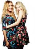 Deux jeune amie se tenant ensemble et ayant l'amusement Photos libres de droits
