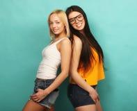 Deux jeune amie se tenant ensemble et ayant l'amusement Au-dessus du bl Photographie stock libre de droits
