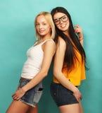 Deux jeune amie se tenant ensemble et ayant l'amusement Au-dessus du bl Images stock