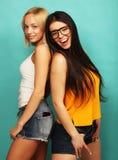 Deux jeune amie se tenant ensemble et ayant l'amusement Au-dessus du bl Image stock