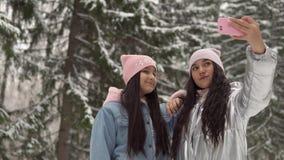 Deux jeunes amies font le selfie sur le fond de la forêt d'hiver utilisant un smartphone 4K banque de vidéos