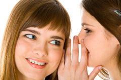 Deux jeunes amies heureuses disant le secret Photo libre de droits