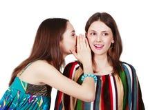 Deux jeunes amies heureuses effectuent le bavardage Photographie stock