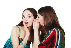 Deux jeunes amies heureuses effectuent le bavardage Photo libre de droits