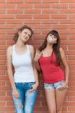 Deux jeunes amis ayant l'amusement ensemble Images stock