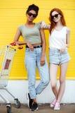 Deux jeunes amis de dames heureux se tenant au-dessus du mur jaune Photographie stock libre de droits