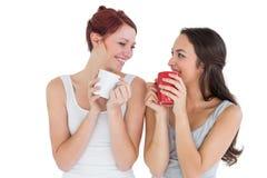 Deux jeunes amis féminins de sourire buvant du café Photos stock