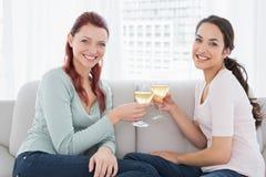 Deux jeunes amis féminins heureux grillant des verres de vin à la maison Photographie stock libre de droits