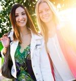 Deux jeunes amis faisant des emplettes ensemble Photographie stock libre de droits